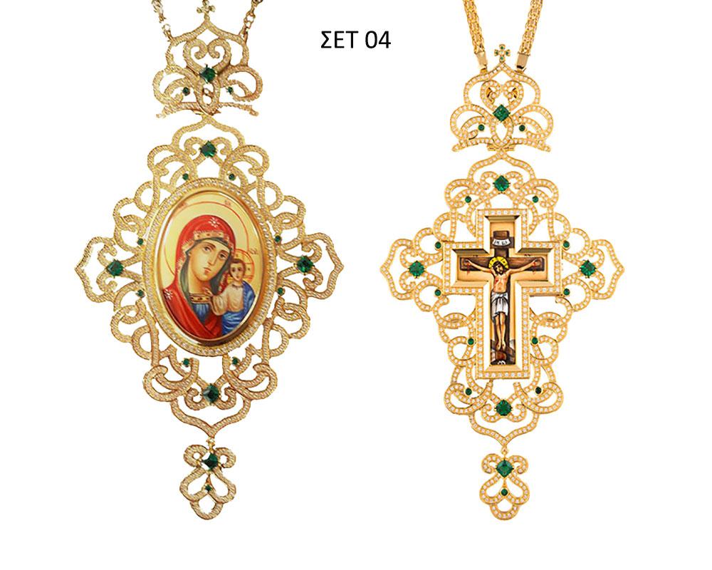 ΣΕΤ 04 Εγκόλπιο Και Επιστήθιος Σταυρός Επίχρυσο Ασήμι (925) (ΣΕΤ 04)