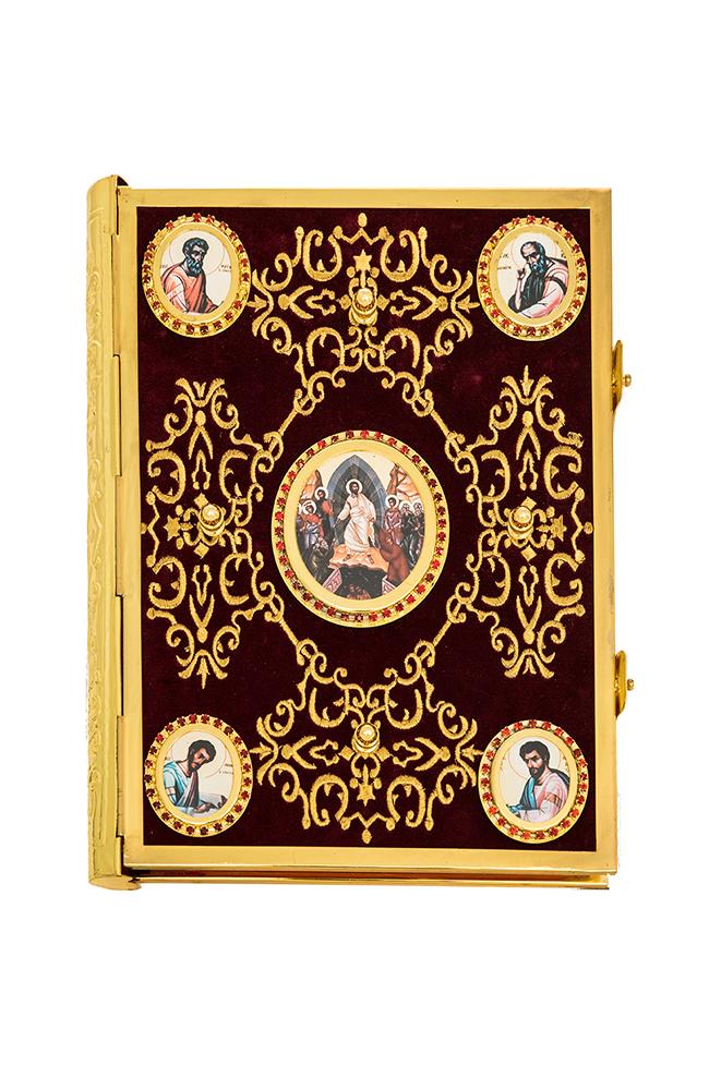 Ευαγγέλιο Βελούδο Μπορντό Χρυσοκέντητος Σταυρός-Εικόνα (102-74)