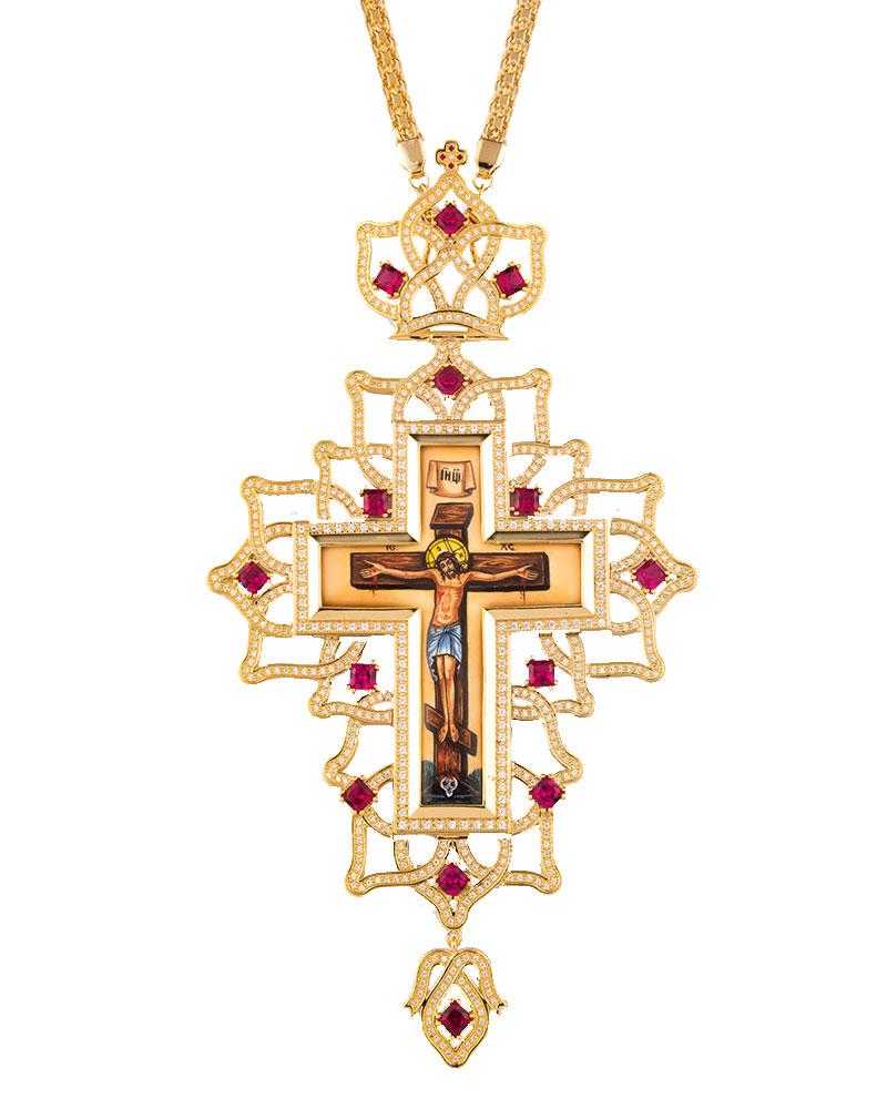 Επιστήθιος Σταυρός Επίχρυσος Ασημένιος (925) Μεγάλος (ΣΤ13)