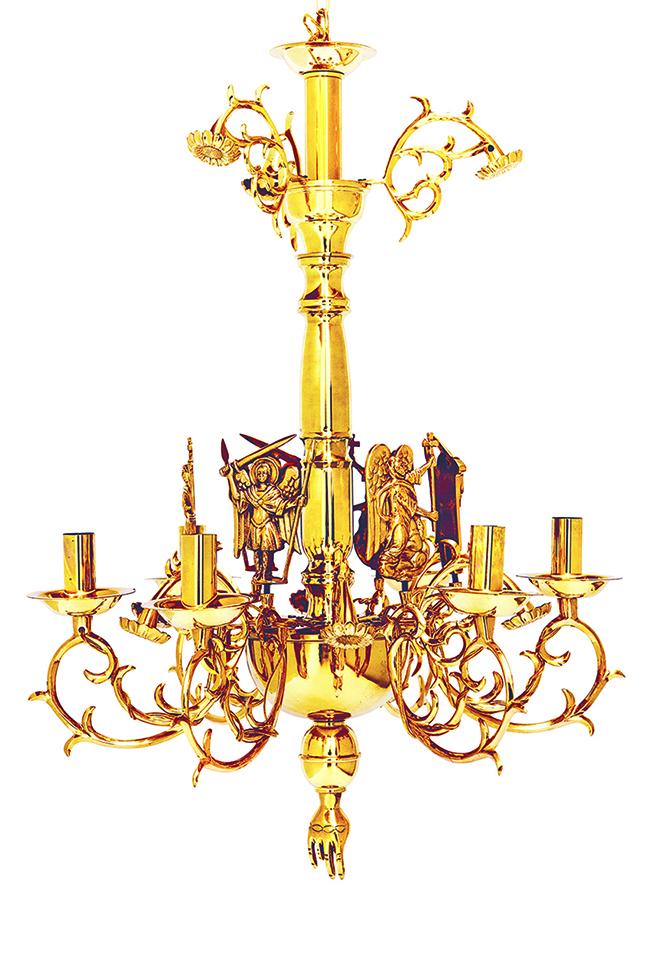 Πολυέλαιος Χυτός Λείος Αγιορείτικος 6Φ (λουλούδι) (267-41Α)
