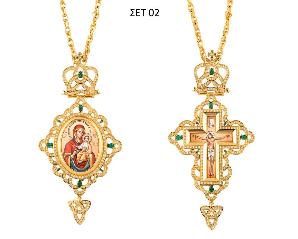 ΣΕΤ 02 Εγκόλπιο Και Επιστήθιος Σταυρός Επίχρυσο Ασήμι (925) (ΣΕΤ 02)
