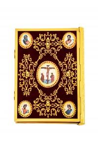 Ευαγγέλιο Βελούδο Μπλέ Χρυσοκέντητη Σταυρό-Εικόνα 102-74(2)