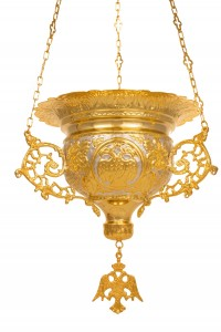 Vigil Lamps  Byzantine Carved Yellow (111-06) (D)