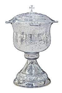 Κολυμβήθρα Βαπτίσεως Σκαλιστή Χρώμιο + Καπάκι (155-15Κ)